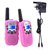 Upgrow 2pcs RT-388 Kids Walkie Talkies Children Walky Talky 0.5W 8 Channels PMR446MHz Rechargeable 2 Way Radio for Children 2-3 KM Long Range, UK Charger, Built-in LED Torch VOX LCD Display (1 Pair, pink) ( 8 x AAA battery and UK charger included )