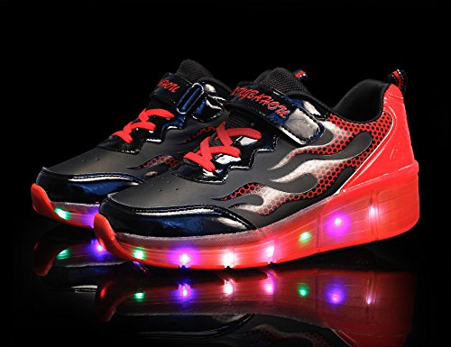 Mr.Ang zapatos de skate luces LED coloridos parpadeante neutra ruedas de patines de rueda patín zapatos Zapatos del patín zapatos deportivos niños y niñas de calzado deportivo black rojo