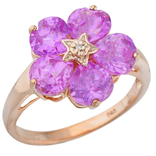 5 Hearts Created Pink Sapphire & Diamond Heart Flower Design Ring 14Kt Rose Gold Plated Over .925 Sterling - Ring Sapphire Flower Pink