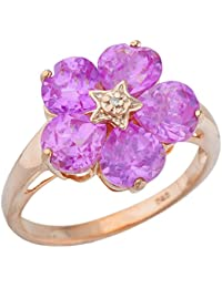 5 Hearts Created Pink Sapphire & Diamond Heart Flower Design Ring 14Kt Rose Gold Plated Over .925 Sterling Silver