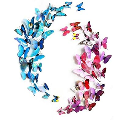 12pcs 3D Butterfly Sticker Art Design Decal Wall Stickers Home Decor