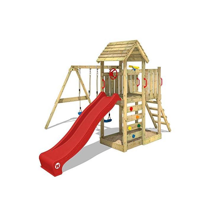 519sm9rhMiL WICKEY Torre de escalada incluyendo conjunto completo de accesorios con columpio, tobogán y cajón de arena Poste 9x4,5 - Poste de columpio 9x9cm - Madera maciza impregnada a presión - Cajón de arena - Muro para trepar Calidad y seguridad aprobada - Instrucciones de montaje detalladas - Varias opciones de montaje - Made in Germany