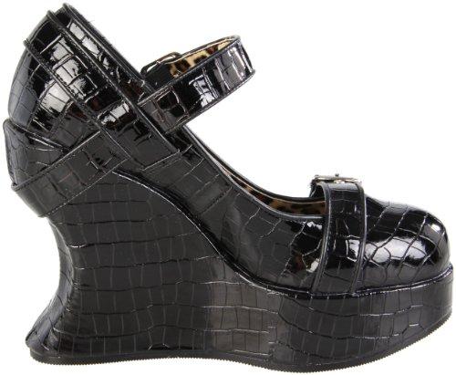 Pleaser Femmes Bravo-10 Wedge Sandale Noir Brevet