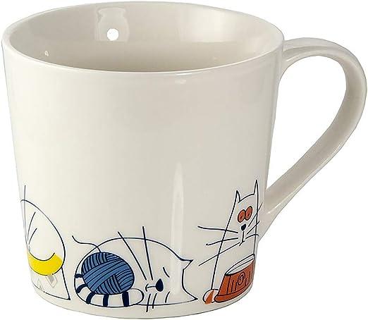 Tazas Desayuno Originales de Porcelana Fina, Taza de Café Grandes 15oz con Diseño de Gatos Graciosos, Regalo para Mujer y Hombres Amantes de los Gato: Amazon.es: Hogar