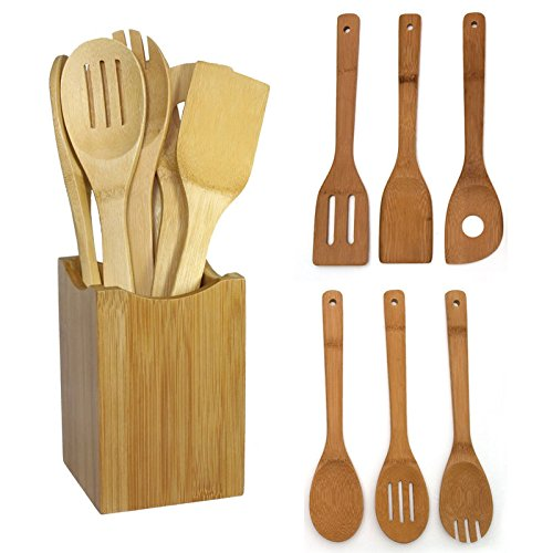 New! Set Of 6 Bamboo Wood Kitchen Tools Spoons Spatula Wooden Cooking Mixing Utensils (Sierra Shim)