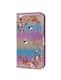 Amocase Glitter Case with 2 in 1 Stylus for Samsung Galaxy J3 2018,Luxury Diamond 3D Crystal Butterfly Flower Magnetic Wallet Leather Stand Case for Samsung Galaxy J3 2018 - Gradient Blue