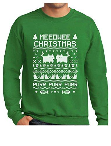 TeeStars - Meeowee Christmas Ugly Sweater - Cute Xmas Party Sweatshirt X-Large Green (Mens Christmas Party)