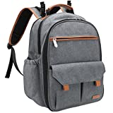 Sunflora Small Diaper Bag Backpack for Women with Insulated Pouch and Baby Changing Pad for Dad and Men (Grey)