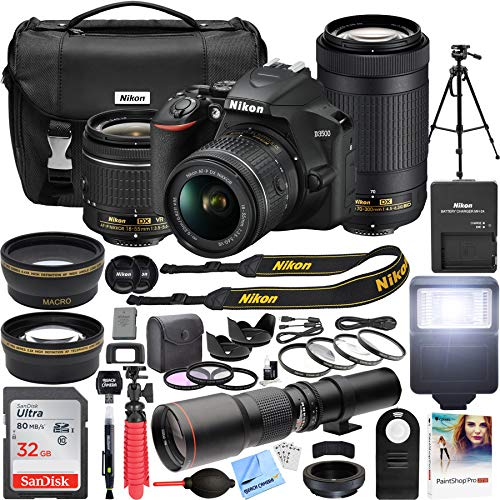 Nikon D3500 DSLR Camera with 2 Lens NIKKOR AF-P DX 18-55mm f/3.5-5.6G VR and 70-300mm f/4.5-6.3G ED Dual Zoom Lens Bundle with 500mm Preset f/8 Telephoto Lens and Accessories (22 Items) (Camera Digital Rubber)