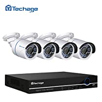 Techage 8CH 48V 1080P POE NVR CCTV System Indoor Outdoor Waterproof Home Security Surveillance Kit With 4PCS IP Camera, Without Hard Drive
