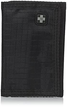 New Swiss Travel Products Black Tri-Fold Nylon Wallet With Zippered Coin Compartment