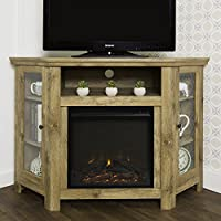 New 4 Foot Wide Fireplace TV Stand - Barnwood Finish-Corner Unit
