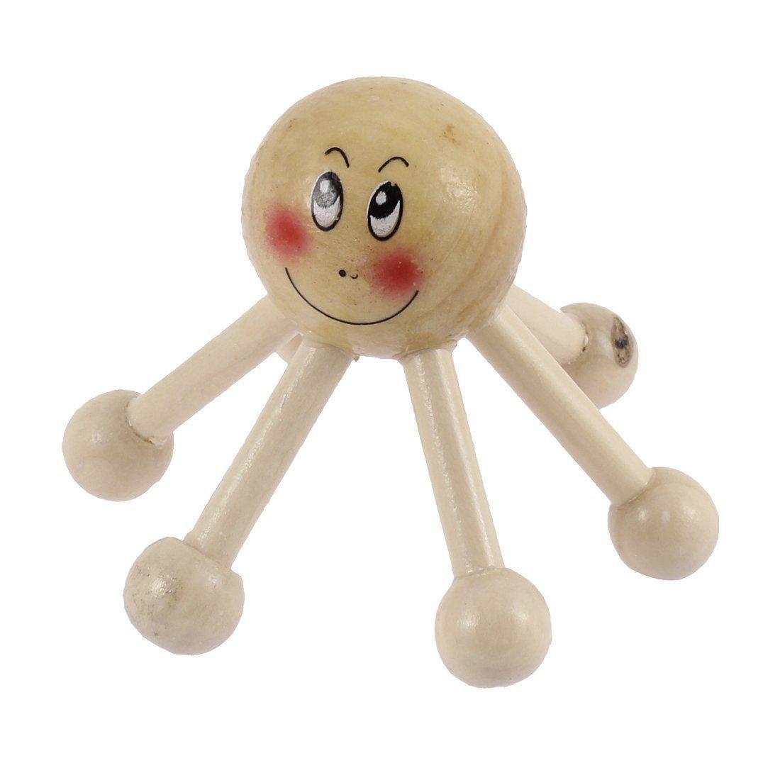 Welim Wooden Body Massager Octopus Shaped Handheld Massager 6 Ball
