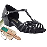 Women's Ballroom Dance Shoes Salsa Latin Practice Dance Shoes Black PU 1612FTEB Comfortable - Very Fine 1'' Heel 6.5 M US [Bundle of 5]