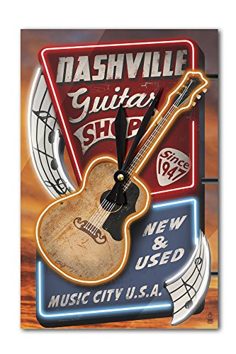 Nashville, Tennesseee – Acoustic Guitar Music Shop (Acrylic Wall Clock) For Sale