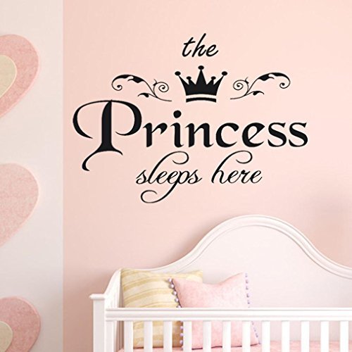 Staron Family The Princess Words Removable Wall Stickers,Easy To Stick + Safe On Painted Walls Home Decor Baby Girls Bedroom Living Room Wall Decals Art Home Sticker Mural (A)