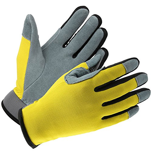 Gardening Gloves with Genuine Deerskin Leather Palm and Sensitive Touch Screen Fingertips - Breathable and Snug-fit for Work, Gardening, DIY, Mechanics - Women and Men (Yellow,Large)