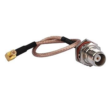 Cable coaxial de extensión de 15 cm para antena inalámbrica, conector MCX macho en ángulo derecho a TNC hembra tuerca junta tórica Rg316: Amazon.es: ...