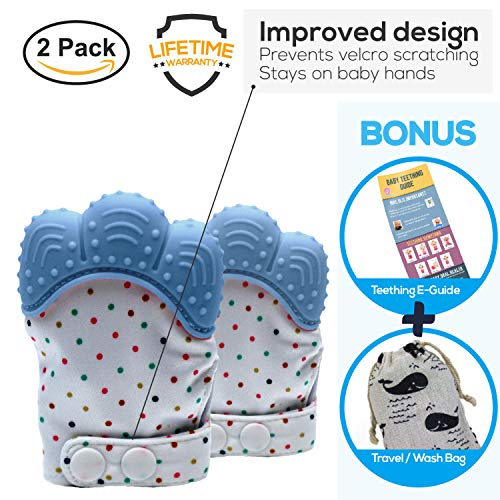 Baby Teething Mitten | Teether Mitt | BPA Free Gloves | Shower Gifts | MaBaby (Blue)