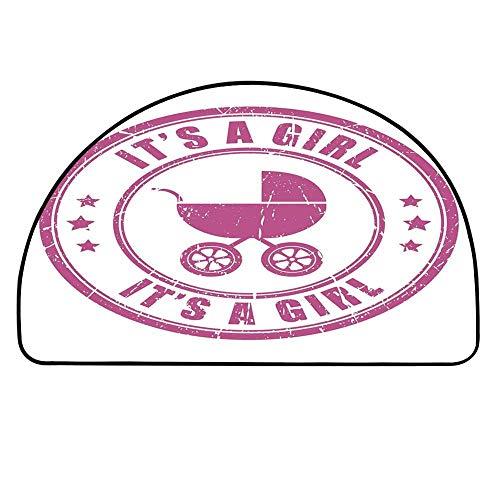 YOLIYANA Gender Reveal Decorations Semi Circle Mat,Grunge Its A Girl Stamp Baby Carriage Artistic Newborn Icon Image Carpet Indoor Mat,19.6