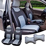 515907 Black/Grey - Leather Like 2 Front Car Seat Covers + 2 Headrest Pillows Compatible to HYUNDAI ACCENT AZERA SONATA SONATA HYBRID SONATA PLUG-IN TUCSON TUCSON FUEL CELL 2018 2017 2016-2007