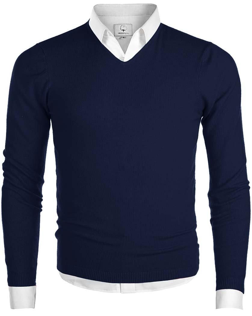 MOCOTONO Men's V-Neck Long Sleeve Pullover Casual Sweater Navy Medium