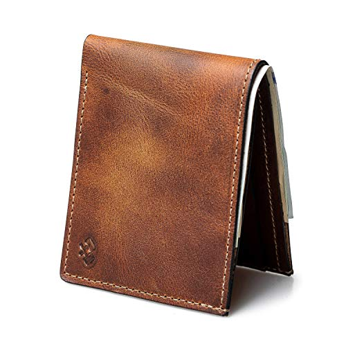 Bifold Leather Wallet For Men | Made in USA | Mens Bifold Wallets | American Made | Tobacco Snakebite Brown | Main Street - America Buffalo