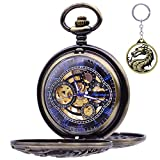 Dragon Skeleton Pocket Watches - Udaney Antique Mens Mechanical Pocket Watch with Chain Christmas Gift Ideas