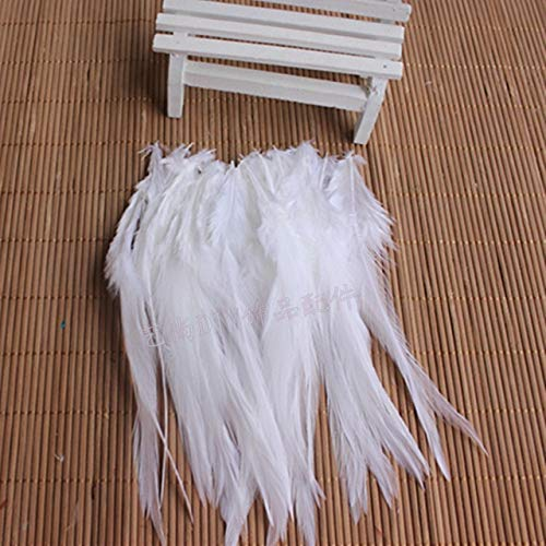 Pukido 50 PCS Natural Colourful Rooster Feathers Fly Tying Bulk Feathers Christmas Decorations for Home Wedding New Year Cosplay Sale - (Color: White) -