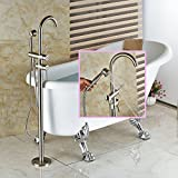 Senlesen Floor Mounted Bathroom Faucet Free Standing Bath Tub Filler Hot Cold Water Taps with Handheld Shower Brushed Nickel