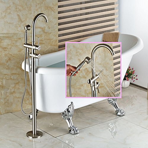 ed Bathroom Faucet Free Standing Bath Tub Filler Hot Cold Water Taps with Handheld Shower Brushed Nickel (Freestanding Tub Faucets)