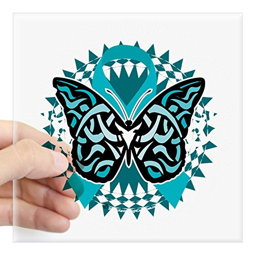 CafePress PCOS-Butterfly-Tribal-2-Blk Square Sticker 3