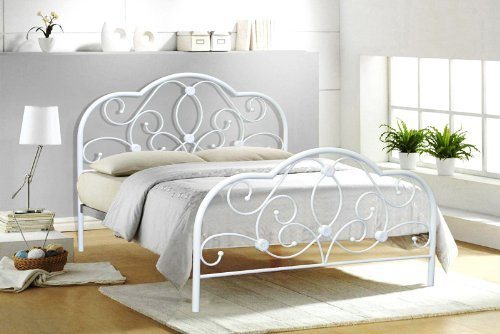Alexis 4FT6 DOUBLE WHITE METAL BED FRAME: Amazon.co.uk: Kitchen & Home