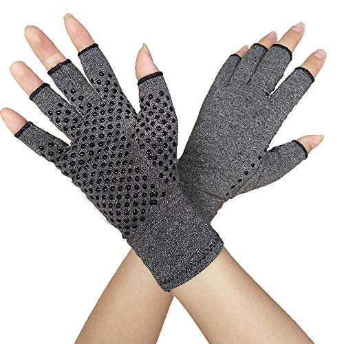 Compression Glove for Rheumatoid, Osteoarthritis - Heat Hand Gloves for Computer Typing, Arthritic Joint Pain Relief, Carpal Tunnel - Men, Women - Open Finger Thumb (1 Pair) (M)