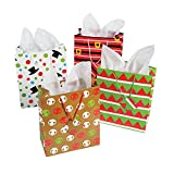 12 Assorted Christmas Gift Bags - Medium Size, Assorted Bright Prints