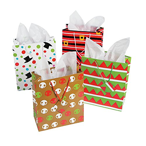 12 Assorted Christmas Gift Bags - Medium Size, Assorted Brig