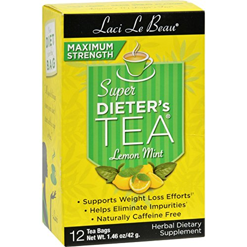 Laci Le Beau Maximum Strength Super Dieters Tea Lemon Mint - Supports Weight Loss Efforts - 12 Tea Bags (Pack of 2)