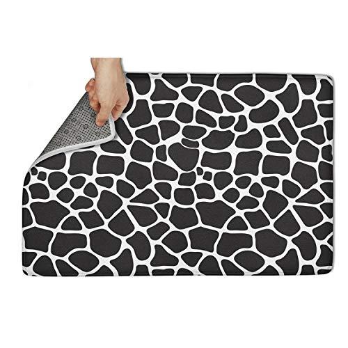 (aknhdhdg Durable Heavy Duty Indoor/Outdoor All Weather Floor Mats for Entryway Easy Clean Black Giraffe Skin Print Decor Shoes Scraper Throw Mat Door Mat)