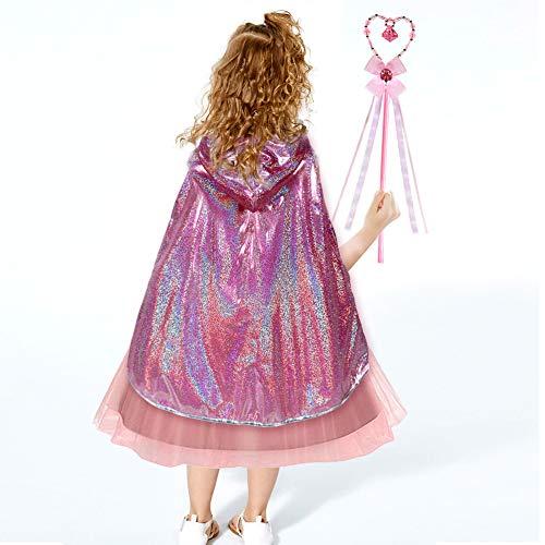 Tacobear Princess Dress Up Girls Glitter Princess Cape with Magic Fairy Wand Pink Hooded Cloak Costume for Girls 3-6 Years
