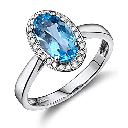 White Gold With Blue Topaz Pave Diamond