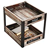 2 Tier Industrial Style Torched Wood Desktop Document Tray, Paper File Holder with Chalkboard Labels Review