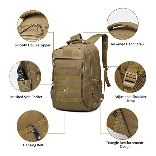 Backpack, Schoolbag, Business Laptop Computer Rucksack, Tactical Backpack, with USB Charging Port and Headset Port, Suitable for Outdoor Exercise, School, Cycling and Travel by Qcute (Image #2)