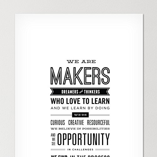 Maker Manifesto Motivational poster // Wall decor for office, classroom, or maker space/Inspirational quote, typographic art print, teacher classroom decorations / 9 x 22