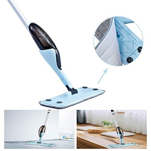 FreedomDesign Microfiber Hardwood Floor Spray Mop 360 Degree Professional Spray Mop for House Kitchen Hardwood Ceramic Floor Includes: Reusable Microfiber Pads (Blue) by FreedomDesign (Image #4)
