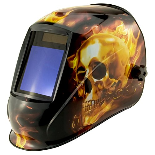True-Fusion Big-1 HellFire IQ2000 Solar Powered Auto Darkening Welding Helmet Hood Grind mask with Massive View Area (98mm x 87mm - 3.85x3.45 inches) FREE Storage Bag, Spare Lenses and Spare Sweatband included by True-Fusion
