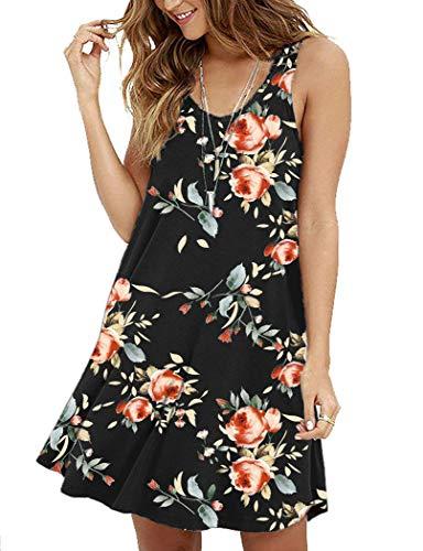 (MOLERANI Women's Floral Sleeveless Loose Plain Dresses Casual Short Dress Rose Black S)