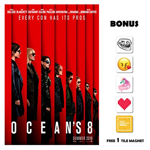 Ocean's 8 Movie Poster 13 in x 19 in Poster Flyer Borderless Bonus 1 Free Tile Magnet