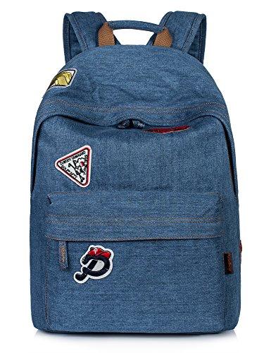 Leaper Vintage Denim School Backpack Laptop Bag Shoulder Daypack Handbag Blue