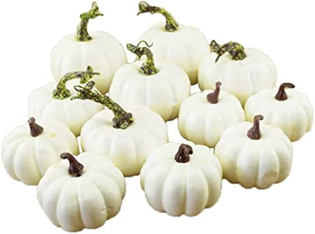 Aitelei 12 Assorted Size Harvest Off White Artificial Pumpkins For Halloween Fall And Thanksgiving Party Decoration Amazon Co Uk Kitchen Home