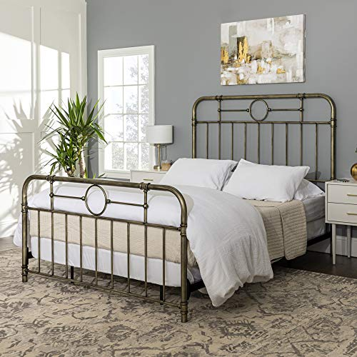 WE Furniture Vintage Metal Iron Pipe Queen Size Bed Headboard Bedroom, Bronze Gold Bedroom Vintage Sleigh Bed